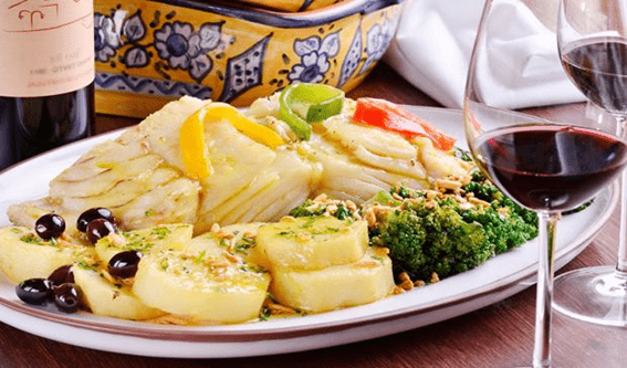 traditional Portuguese meal; Bacalhau