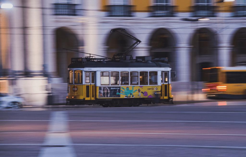conic yellow tram lisbon